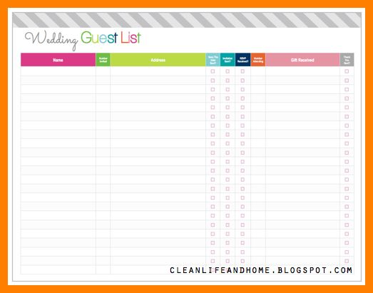 10+ wedding guest list template | monthly budget forms