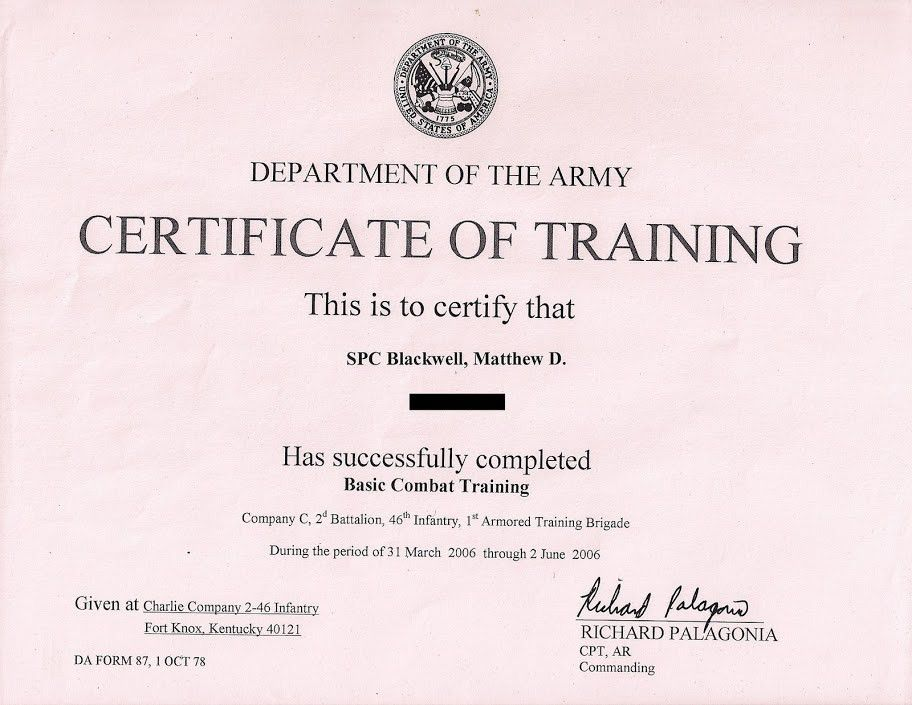 Delightful Awesome Army Certificate Of Training Template Pictures   Best . Throughout Army Certificate Of Training Template