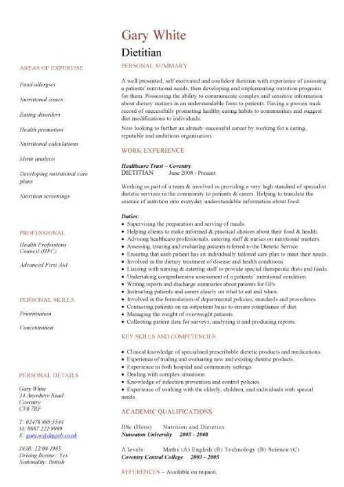 Dietitian CV sample, ability to assess a patients' nutritional needs,