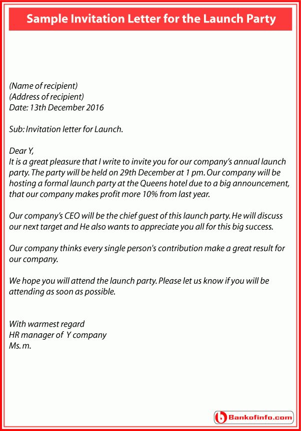 Sample Invitation Letter for the Launch Party