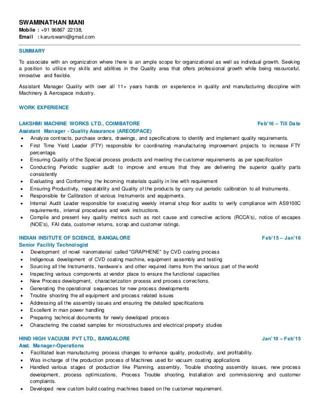 Aerospace Quality Engineer ~ ANAXMEN