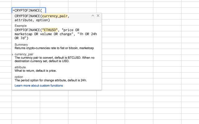 CRYPTOFINANCE - Google Sheets add-on