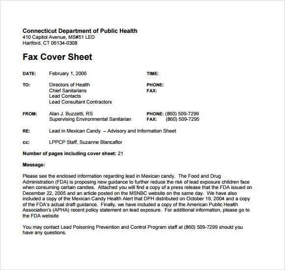 Sample Basic Fax Cover Sheet - 7+ Free Documents Download in PDF