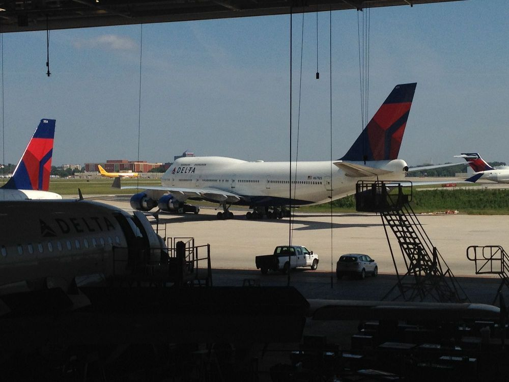 Delta 747-400 on the ramp as ... - Delta Air Lines Office Photo ...