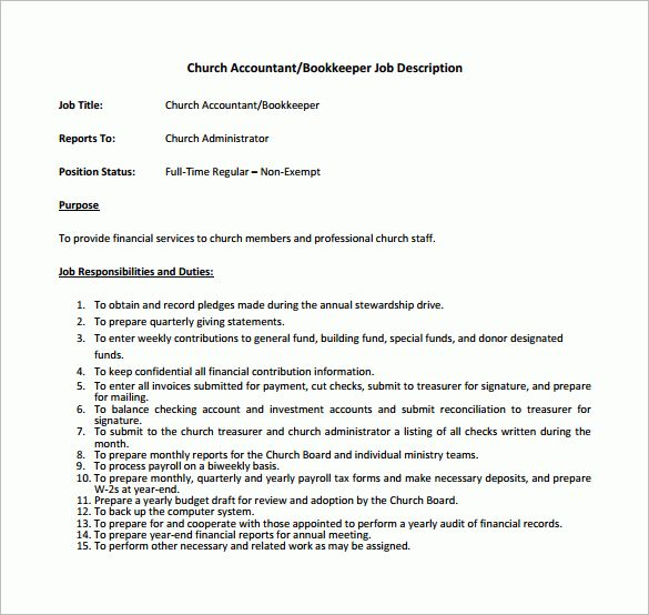 10+ Bookkeeper Job Description Templates – Free Sample, Example ...
