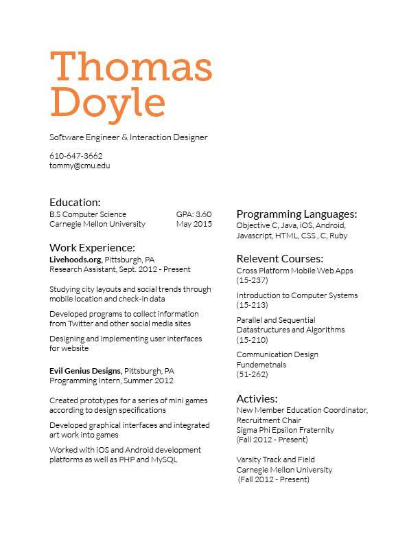 Resume and business card final | Tommy's CDF Blog
