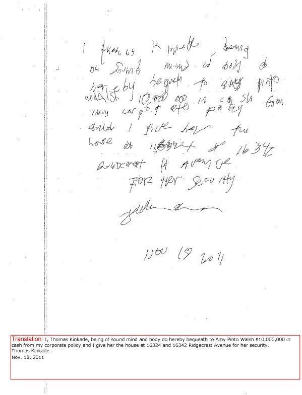 Thomas Kinkade's Handwritten Wills in Dispute