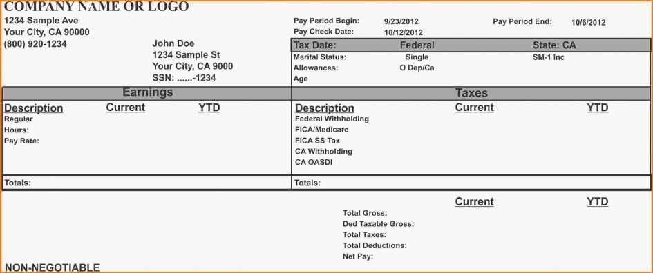 Checks Template Adp Pay Stub Template Payroll Check Template Excel ...