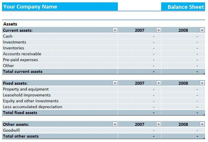Assets and Liabilities Report Balance Sheet Template | Formal Word ...