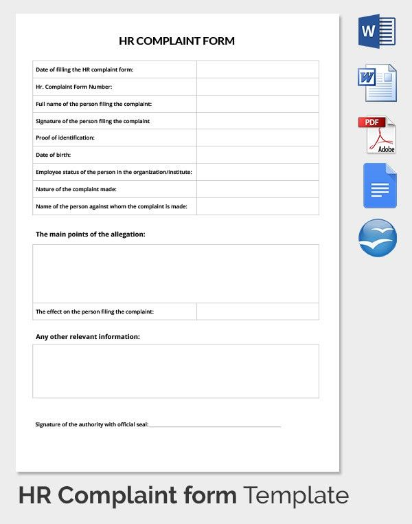 29+ HR Complaint Forms   Free Sample, Example Format | Free .  Customer Complaints Form Template
