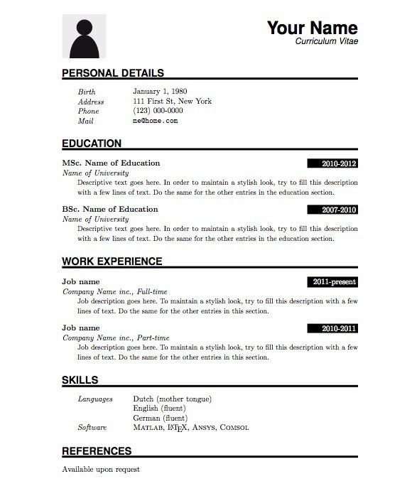 basic resume template with clean look sample of a resume format ...