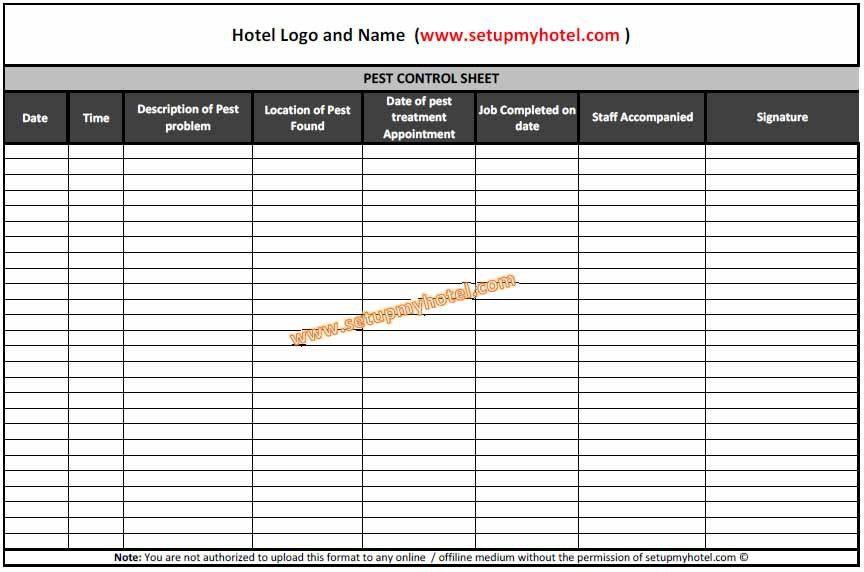 Pest Control Log Book / Sheet