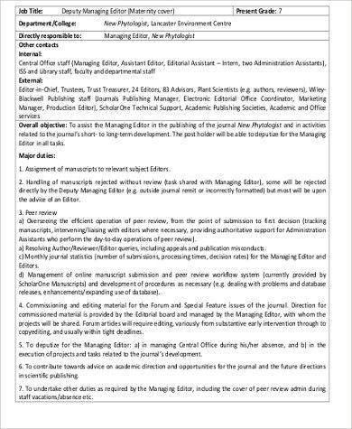 Managing Editor Job Description Sample - 8+ Examples in Word, PDF