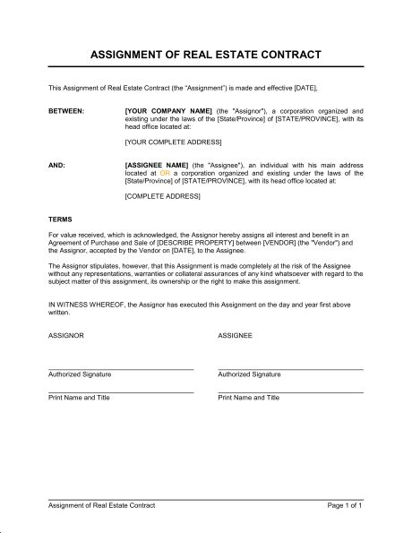 Assignment Of Real Estate Contract   Template U0026 Sample Form .
