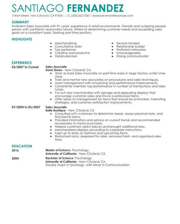 Retail Resume Example. Download Resume Examples For Retail Retail ...