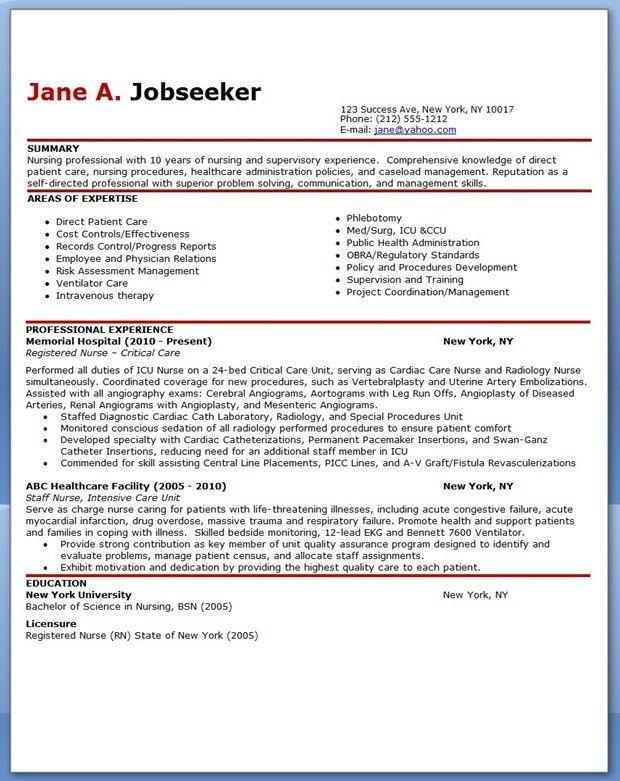 Nurse resume template free