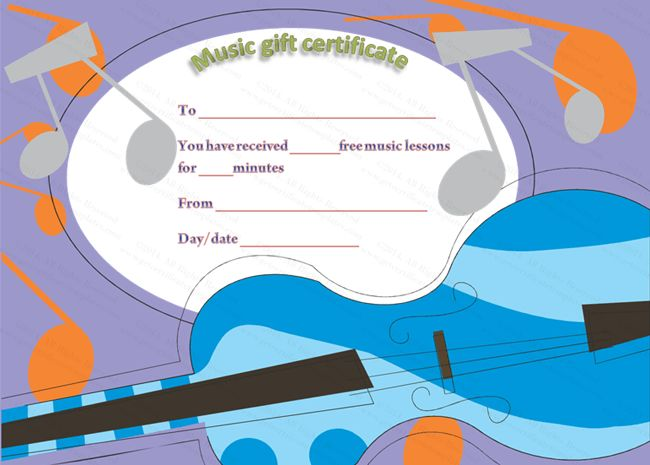 Free Music Lessons Gift Certificate Template | Beautiful Printable ...