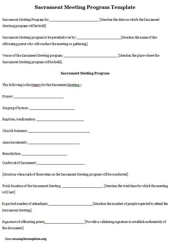 Program Template for Sacrament Meeting, Template of Sacrament ...