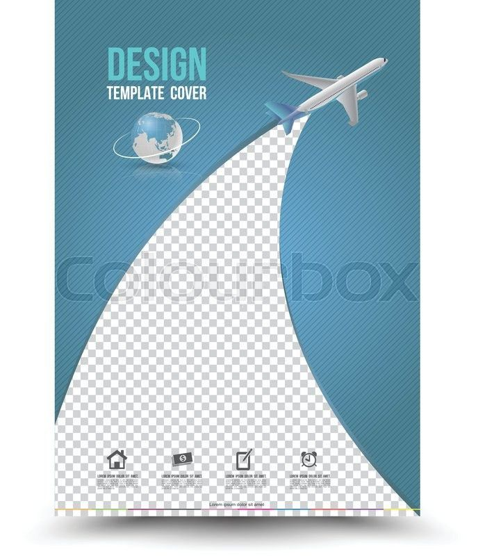 Cover page layout template with paper airplane. Vector ...