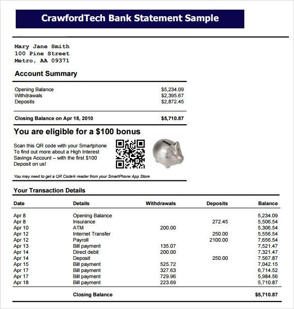 9 Free Bank Statement Templates   Word Excel Sheet PDF  Blank Bank Statement Template