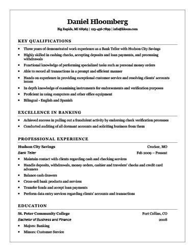 job winning bank teller resume example for employment with areas ...