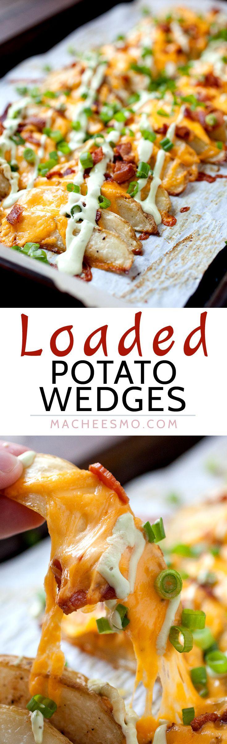 Loaded potato Wedges - Baked and Crispy ~ Macheesmo