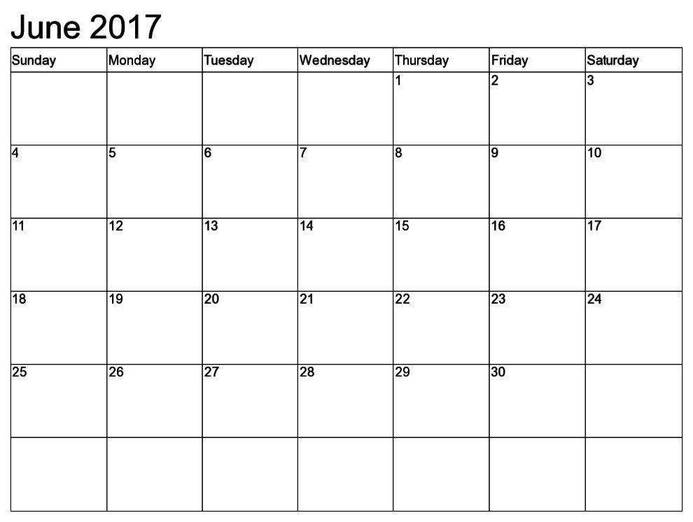 June 2017 Calendar Template | Calendar Template Letter Format ...