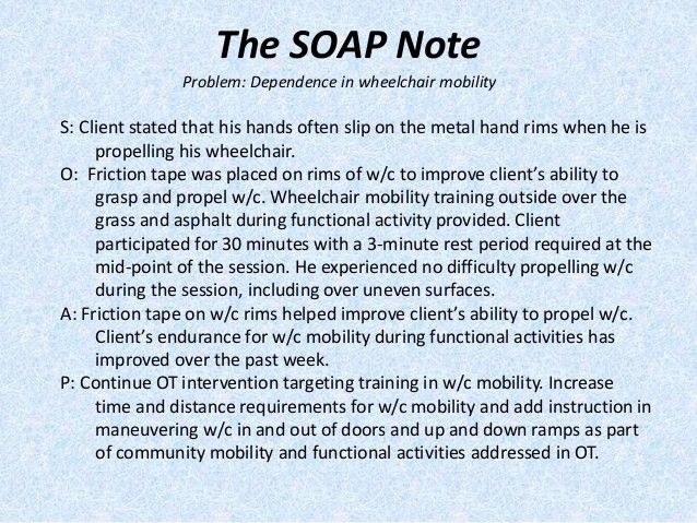Image result for sample occupational therapy soap note | OTA ...