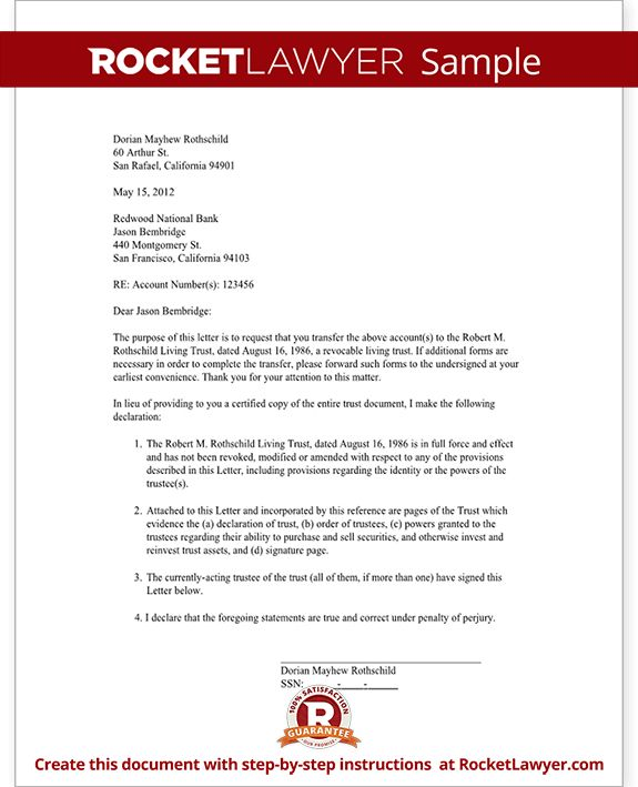 Trust Letter to Broker - Bank Letter Sample | Rocket Lawyer