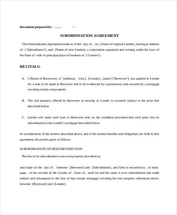 9+ Subordination Agreements - Free Sample, Example, Format | Free ...