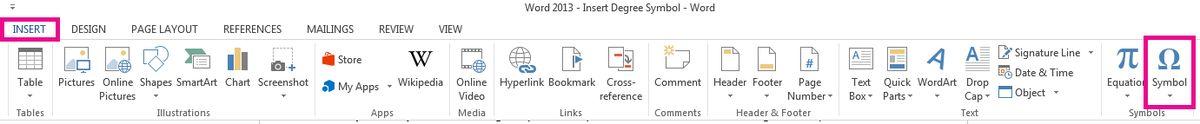 Insert degree symbol - Word