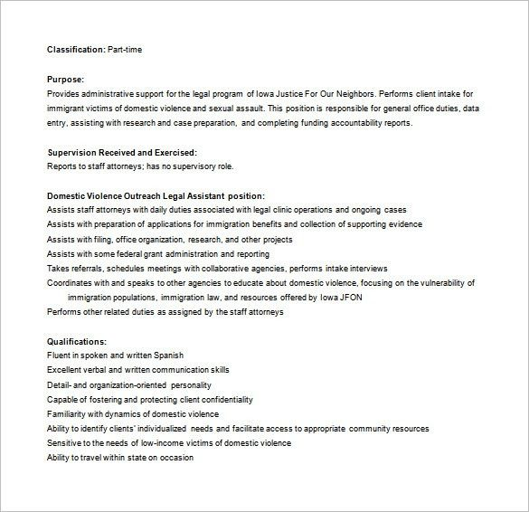 Legal Assistant Job Description Template - 11+ Free Word, PDF ...