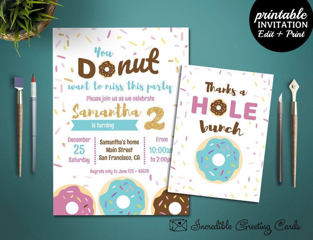 Donut Party Birthday Invitation Template, Printable 2nd Birthday ...