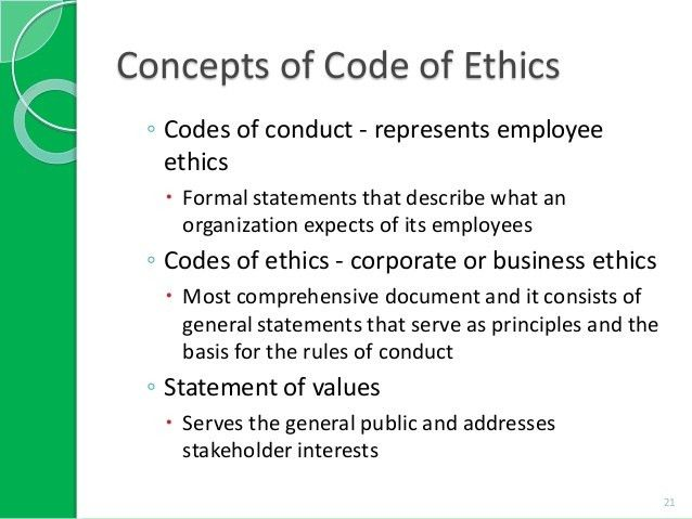Image result for code of ethics examples | Codes of Ethics/Conduct ...