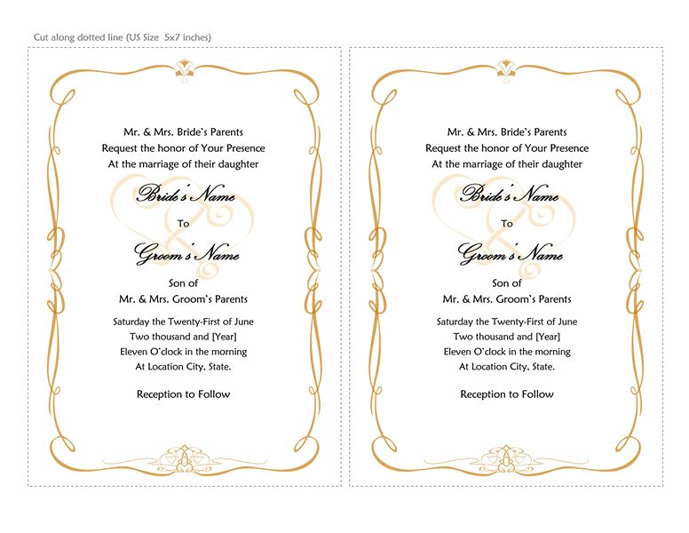 Wedding invitations (Heart Scroll design, A7 size, 2 per page ...