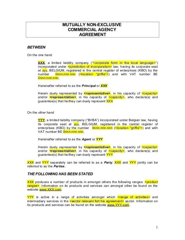 Agency Contract Template. Agencies Commission Agreement Template ...