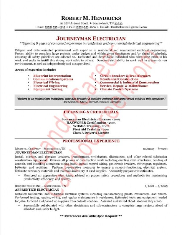 Sample Electrician Resume – Resume Examples