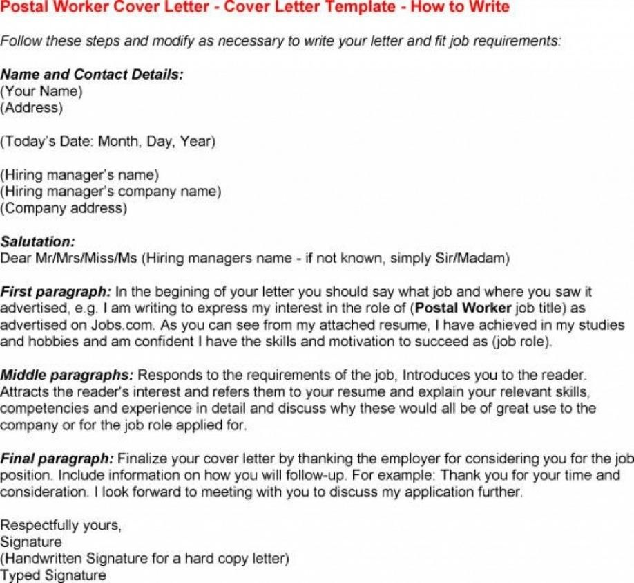 Cover Letter For Post Office Job