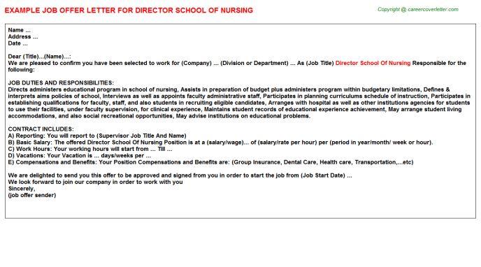 Director School Of Nursing Offer Letter