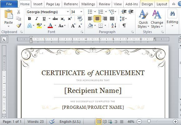 Certificate In Word. File Format Completion Certificate Character ...
