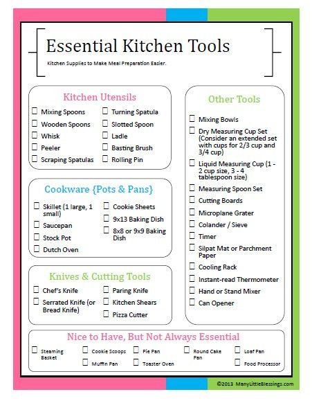 Essential Kitchen Tools for Easier Meal Preparation {Printable ...
