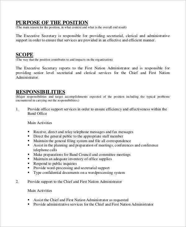 executive secretary resume executive secretary resume samples