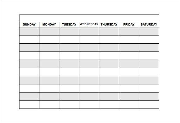 Schedules Templates Free Free Printable Work Schedules Weekly – Monday to Sunday Schedule Template