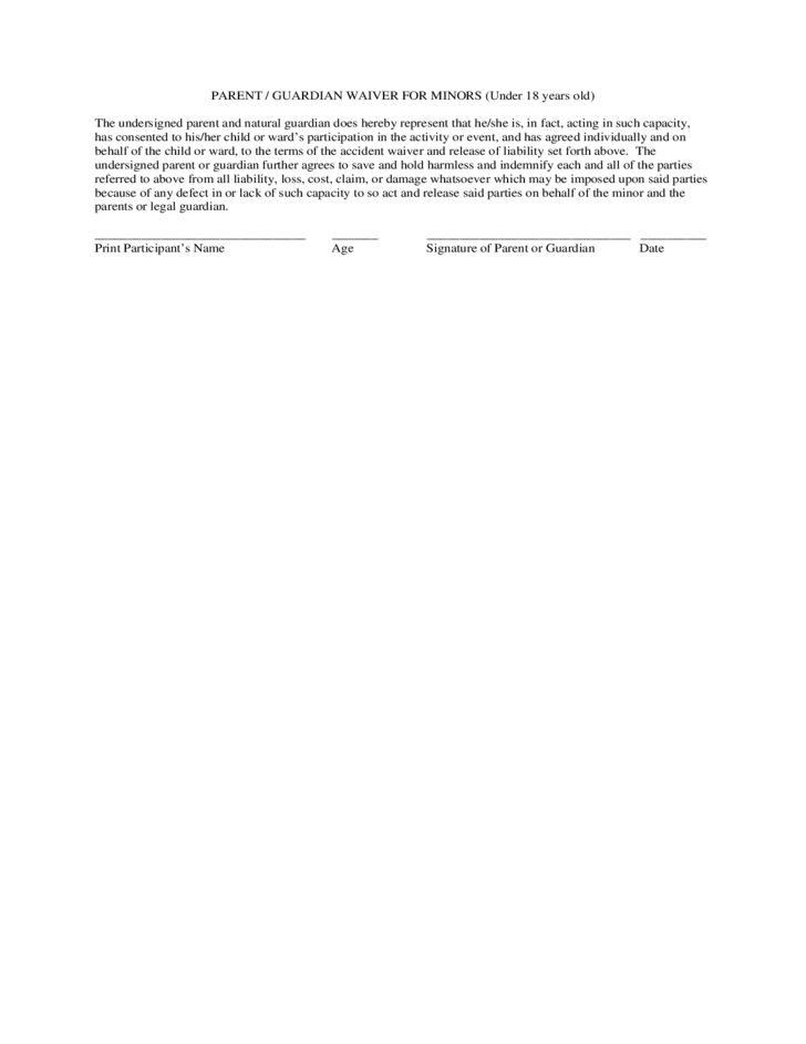 Standard Accident Waiver and Release of Liability Form Free Download