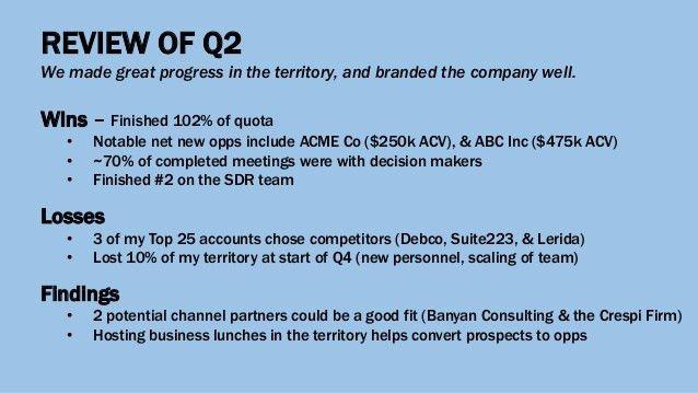 Sales Development QBR Template
