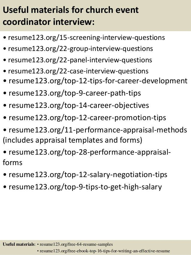 Top 8 church event coordinator resume samples