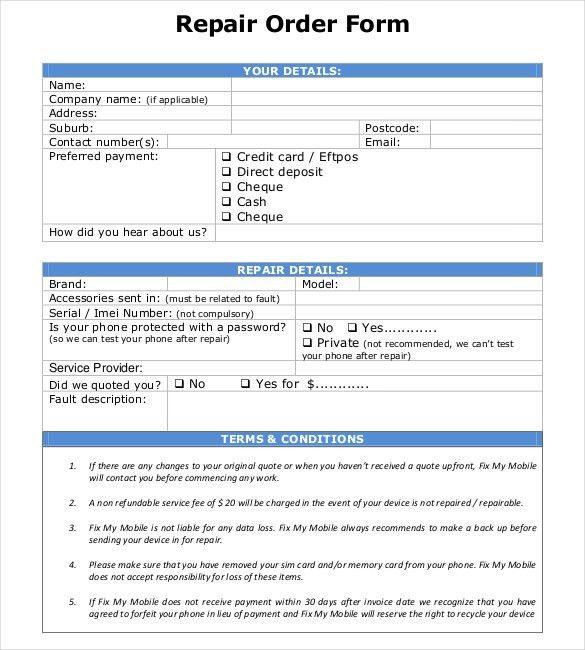 20+ Repair Order Templates – Free Sample, Example, Format Download ...