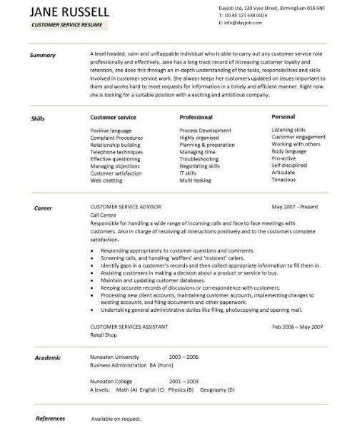 Customer Service Resume Samples - Resume CV Cover Letter