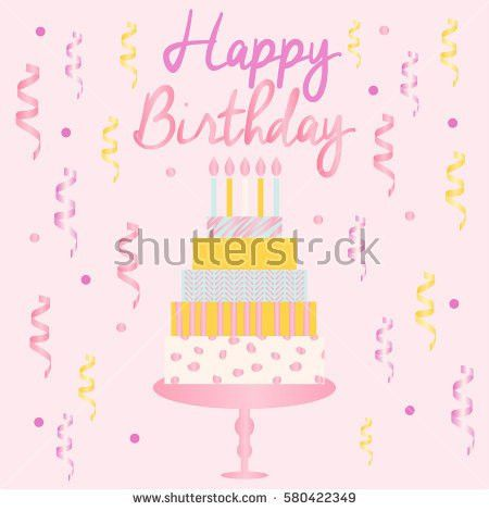 Happy Birthday Card Template Modern Geometrical Stock Vector ...