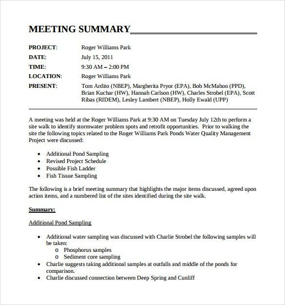 Sample Meeting Summary Template - 11+ Free Documents in PDF, Word